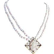 Upcycled Angel Skin Pink Conch Cameo and 2 Strand Conch Pearl Bead Necklace Certified Appraisal $2650