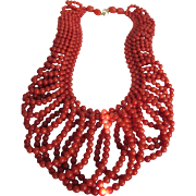 Vintage 14kt Mediterranean  Salmon Red Coral Lace Pattern Necklace - Certified Appraisal $800