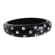 Vintage  Black Bakelite with Larger Rhinestones  Bangle