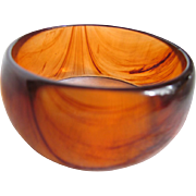 Mid Century Lucite Amber or Tea Swirl Wide Bangle