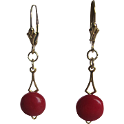 Vintage Natural Red Coral Cabs on 12kt.GF French Clip Earrings