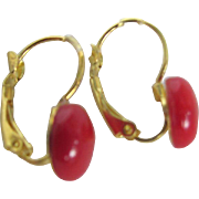 Vintage Natural Red Coral Cabochon GP Dormeuse  pierced  Earrings