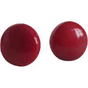 Vintage Natural Red Coral Cabochon GP Post pierced  Earrings