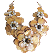 Vintage MOP Discs Flower With Tiger Eye/Freshwater Pearl Necklace
