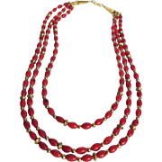 Vintage Appraised $790 Italian Enhanced Red Coral Triple  Necklace