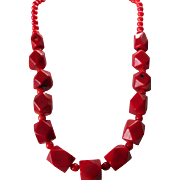 Vintage Red Rustic Coral Huge Cube Style Necklace