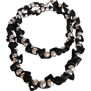 Vintage Faux Pearl Huge Scale with Black Silk Ribbon Wrap Necklace