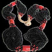 Vintage Black Coral Multi Strand & Glass Necklace