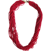 1947 Occupied Japan Natural Red Coral Seed bead Torsade Necklace with Certified Appraisal $2400