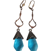 Vintage Art Nouveau Style Stamped Brass & Aquamarine Glass Leverback Earrings