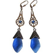 Vintage Art Nouveau Style Stamped Brass & Sapphire Blue  Glass Leverback Earrings