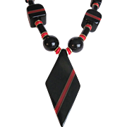 Art Deco Unsigned Red & Black Galalith & Brass Necklace
