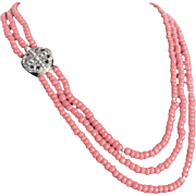 Vintage Italian Natural Sardinian Red Coral  3 Strand Necklace with Certified Appraisal $900