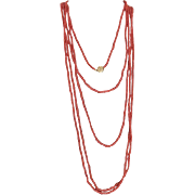 """Vintage Italian Oxblood Red Branch Natural Coral EXTRA Long 108""""  Necklace with Diamond set Clasp & Certified Appraisal $1100"""