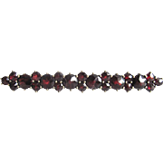 Victorian Almandite Garnet Sterling Silver Collar Bar Brooch with Certified Appraisal