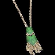 Vintage Bakelite Green & Cream Swirl Double Pendant with Brass Chain Necklace