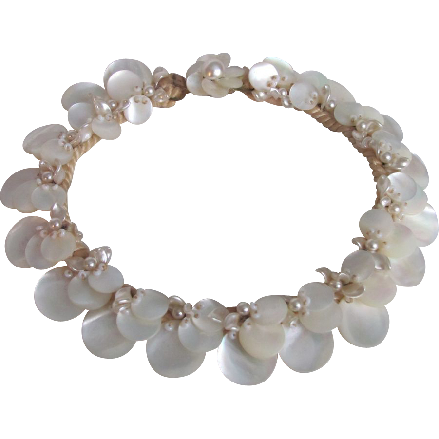 Vintage Unsigned Miriam Haskell MOP Mother of Pearl Disc on Silk Cord Choker Necklace