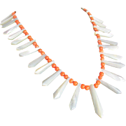 Victorian MOP & Salmon Coral  Graduated Pickets &  Berries Necklace with Certified Appraisal $890