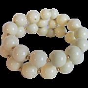 Vintage Lucite Memory Wire 2 Row Cream Bead Bracelet