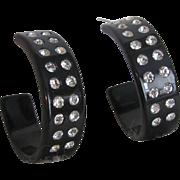 Art Deco Black Bakelite Open Hoop Rhinestone Pierced Earrings