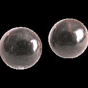 Vintage NOS Bakelite Chocolate Cabochons Pierced Earrings