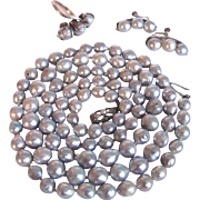 Art Deco Japanese  Fuji Co. Gray Cultured Baroque Pearl St. Silver Set with Original box & Certified Appraisal $1785