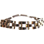 Vintage MODERNIST Heavy Chrome Brass Plated Tractor Bracelet with safety Chain