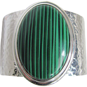 Modernist Faux Malachite Cabochon Hammered Chrome Cuff Bracelet