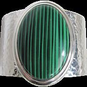 Modernist Faux Malachite Cabochon Hammered Chrome Cuff Bracelet