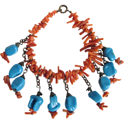 WWII Unsigned Miriam Haskell Genuine Branch Coral and Glass Faux Turquoise Bracelet