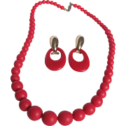 Mid Century Cherry Red Lucite Graduated Necklace & Omega Doorknocker Earring Set