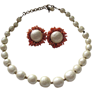 Vintage Miriam Haskell Faux Pearl with Real Branch Coral Earring and Necklace set
