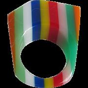 Mid Century Pop Art Philadelphia Colors Lucite Size 6 Ring