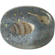Mid Century Pop Art Blue Mermaid Sea Shell Lucite Size 6 Ring  2 for 1 offer