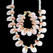 Vintage Angel Skin Pink Conch Slices and MOP Necklace & Bracelet