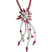 Little Creations Flower Centerpiece in Enhanced Red Coral & Freshwater Buttons & Crystal Cascading Necklace