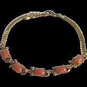 Vintage Natural Angel Skin Pink 5 Cabochon GP Bracelet