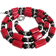 Vintage Red Enhanced Coral Rod Bead Necklace with Certified Appraisal $590
