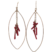 Vintage GP Marquis Shaped Dangling Natural Branch Red Coral Pierced Earrings