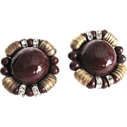 Unsigned Miriam Haskell Oxblood Coral Glass Cabochon Clip Earrings