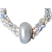Vintage Japanese Enhanced Blue/Gray Natural Freshwater Pearls & Mabe Pearl Clasp Torsade & Certified Appraisal $720
