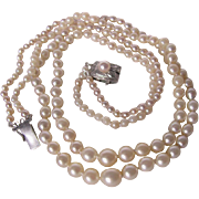 Antique/Vintage 2 Strand Graduated Natural Sea Pearls and Cultured Pearls with St. Silver Clasp - Certified Appraisal $2450