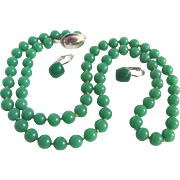 Vintage Peking Jade Glass Hand Knotted necklace & Pierced Dormeuse Earrings