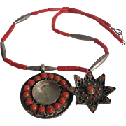 Antique Salmon Natural Coral Cannetille Silver Pill Pendant and Natural Coral Necklace  with Certified Appraisal $1350