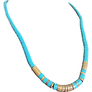 Vintage Egyptian Revival Style Turquoise Enhanced Heishi Bead Necklace with Certified Appraisal