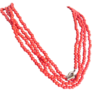 "Antique Coral Red Art Glass  98 1/2"" long , 591 bead necklace with Certified Appraisal $475"