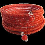 Vintage Salmon Italian Branch Seed Bead Coral on Memory Wire Bracelet