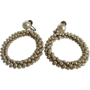 Vintage Faux Pearl Wired Eternity Circle Screwback Earrings