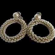 Vintage Faux Pearl Wired Eternity Circle Screwback Earrings