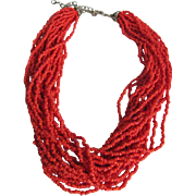 Vintage Italian Sardinian red Natural Coral Torsade Seed bead necklace